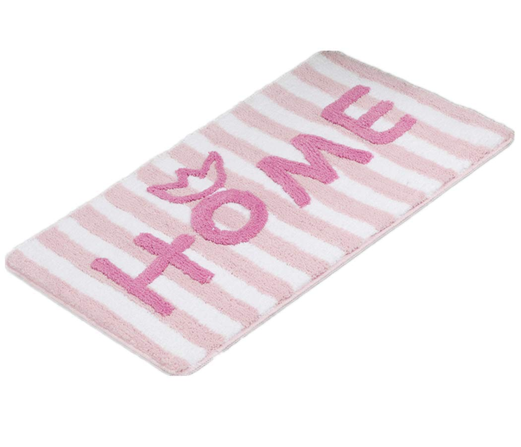 Stripe Bath Rug Non-Slip Rubber Shower Rugs Shaggy Bathroom Rugs Microfiber Absorbent Decorative Bath Mat for Floor Bathroom Bedroom Living Room Machine Washable 32 x 20 Pink SWSK