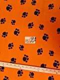"ORANGE BLACK ANIMAL PAW PRINT POLAR FLEECE FABRIC 60"" WIDTH SOLD BY THE YARD 582"