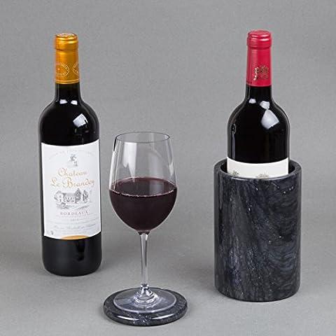 Creative Home Natural Black Marble Wine Cooler Champagne Chiller Kitchen Utensil, Flatware Holder