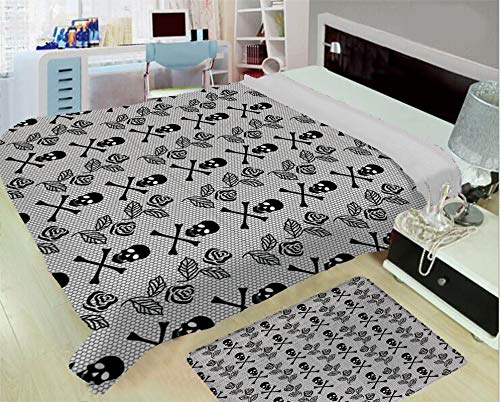 - 3-D Printing Fine Comfortable Flannel Blanket,Gothic,Monochrome Lace Style Pattern with Romantic Vintage Roses and Skulls Crossbones Decorative,Black White,One Side Printing,Excess Value