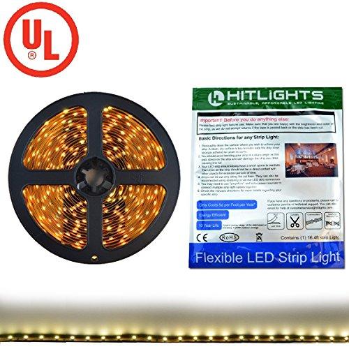 Premium 3528 Warm White LED Light Strip - 300 LEDs, 3000K, 82 Lumens & 1.3 Watts per Foot, 12V DC, Adhesive Backed - for...