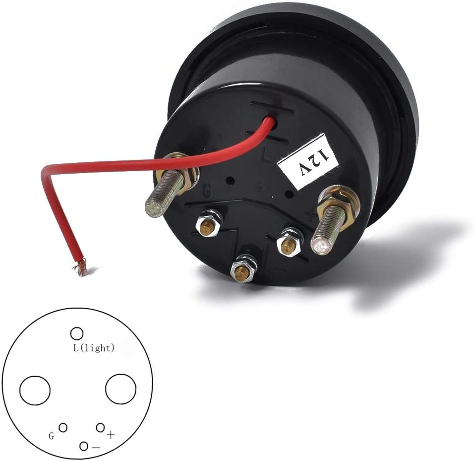 Black 12V LED Light Marine Fuel Level Gauge E-1//2-F with 350mm Fuel Level Sensor MHSZZAO 2 52mm