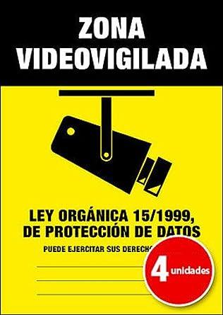 Pegatina Cartel Alarma ZONA VIDEOVIGILADA Disuasorio Aviso 15/1999 - Pack de 4 unidades A6: Amazon.es: Industria, empresas y ciencia