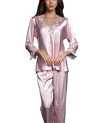 ZhuiKunA Femme Ensemble Pyjama Satin Chemises de Nuit Pyjama Longue Pyjama   Amazon.fr  Vêtements et accessoires 067f95d5c9f