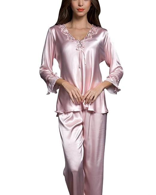 Pijamas Mujer Camisones Satén Suave y Cálido Manga Larga y Pantalones Pink M