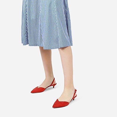 WYYY Fiesta Talón De Individuales Palabra V Bajo Zapatos Apuntado Verano Hebilla Casuales Sandalias Playa De Zapatos Retro Bloque Zapatos Palabra Gamuza Temporada De De Rojo Mujer RwIRqrz