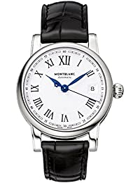 107115 MontBlanc Star Date Automatic Silver Dial Black Leather Mens Watch