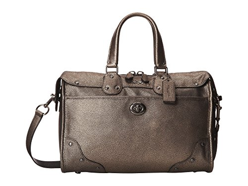 (Coach Metallic Leather Rhyder Satchel 33739,Brass)