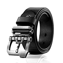 Teemzone Mens Business Casual Style Leather Ratchet Belt Slide Belt for Waist