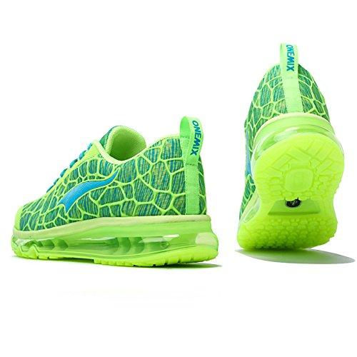 onemix Hombre Cojín de aire Zapatillas de running Flourescent Green