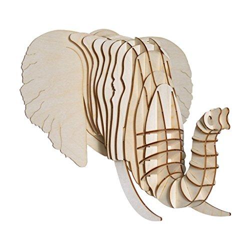 Cardboard Safari Baltic Birch Plywood Animal Taxidermy Elephant Trophy Head, Eyan Large - Plywood Elephant