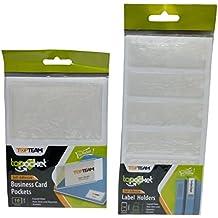 Self Adhesive Label & Name Card Holder Pockets, Transparent Clear Plastic, 2 Sizes, 28 piece Bundle