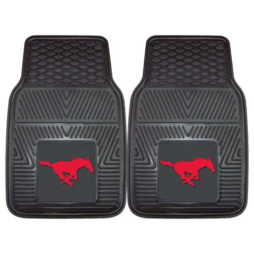 Fanmats 13010 Southern Methodist University Mustangs Front Row Vinyl Heavy Duty Car Mat - 2 - Wheel Cover Mustang Steering