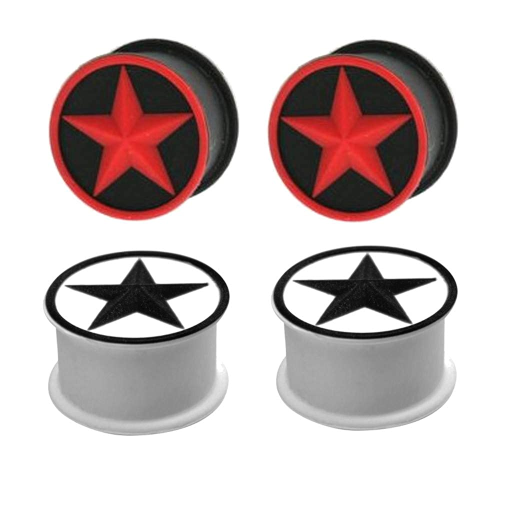 Zaya Body Jewelry 2 Pairs White Red Star Black Silicone Tunnels Ear Plugs Gauges Rubber 26mm 24mm 22mm 20mm 18mm