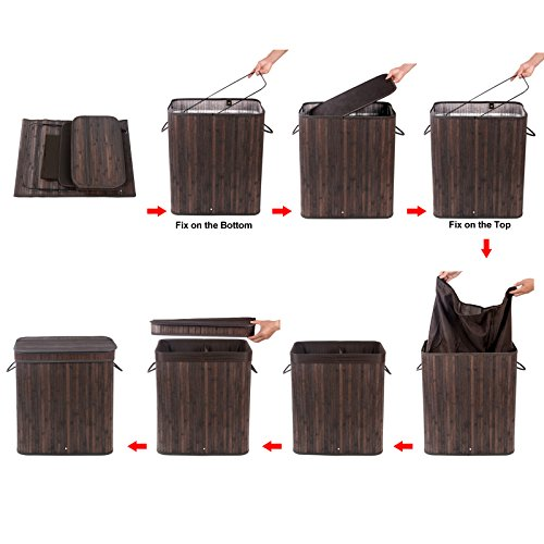 Songmics bamboo laundry basket double hamper with lid two section clothes storage rectangular - Laundry basket lights darks colours ...