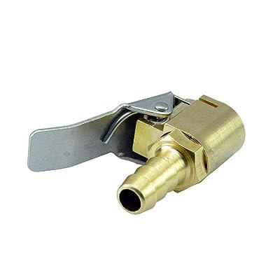 AutoEC Open Flow Air Chuck with Clip, Tire Inflator Lock-on Air Chuck - Tire Inflator Valve Connector - 6mm 1/4'' Brass: Automotive