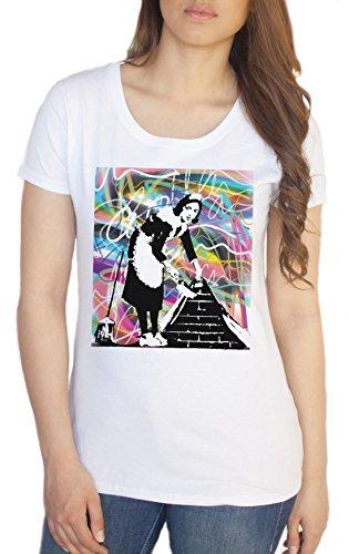 Banksy Maid Sweeping Que debajo de alfombras Graffiti Mujer T Camiseta–Banksy T Camisa C18–�?4