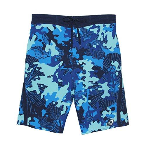Laguna Mens Hibiscus Print Stretchable Camo Elastic Boardshorts in Blue, Size S