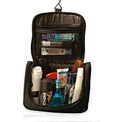 LifeBox Portable Hanging Toiletry Bag/ Portable Travel Organizer Bag for Men or Teens. Free Beardbib Included. August Special (Black)