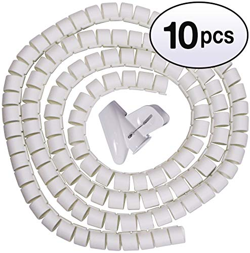 GOWOS (10 Pack) Spiral Cable Zip Wrap White 30mm x 1.5m
