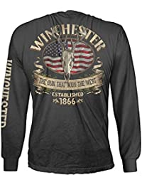 Official Winchester Mens Cotton Southern Rebel Skull Graphic Long Sleeve T-Shirt