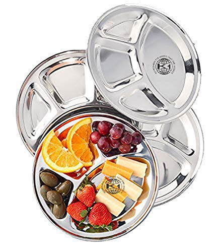 - King International 100% Stainless Steel Four in one Dinner Plate Four sections divided plate Four section plate -Set of 4 Mess Trays Great for Camping, 30 cm