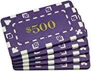 MRC 5 Pcs Denominated Rectangular Poker Chips Plaques $500 Purple