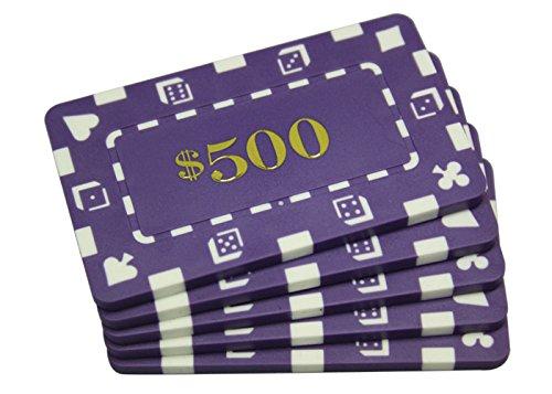 5 Pcs Denominated Rectangular Poker Chips Plaques $500 Purple