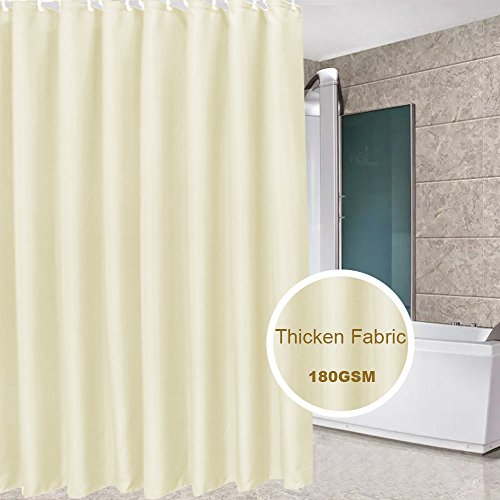 Eforcurtain Teen Girls Romantic Shower Curtain Fabric Stall Extra Long 54 x 78 Inches, Light Yellow Bath Curtain Water Proof, Heavy Weight with Reinforced Rust Proof Metal Grommets