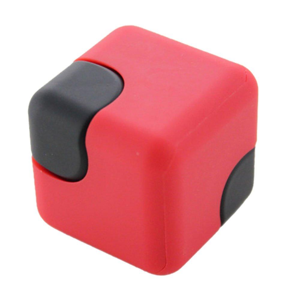 eBusキューブHandスピナー高速度EDCガジェットストレスと不安Reliefプラスチック指フォーカスおもちゃを大人と子供(レッド) B0749CXG86 11510