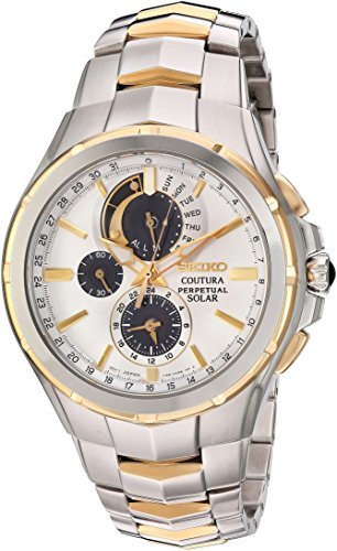 Seiko men's Coutura Japanese quartz watch with stainless steel strap, two-tone, 25 (model: SSC560)