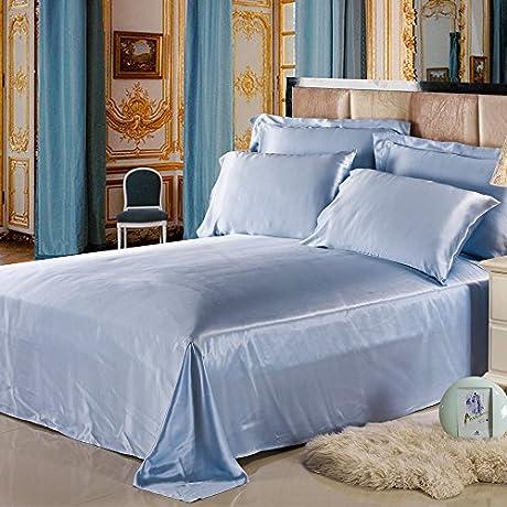 Lilysilk 1B02 09 CK 100 Mulberry Silk Sheets Set 4pcs 19 Momme California King Light Blue