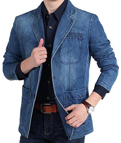 Cime blu A2182 All'aperto Del Uomini Nbnnb Soddisfare Blazer Denim Cappotto Collare Casuale nqPISw6U