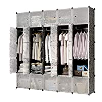KOUSI Portable Closet Clothes Wardrobe Bedroom Armoire Storage Organizer with Doors, Capacious & Sturdy, Black (10 Cubes&5 Hanging Sections)