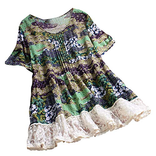 LAODIA Women Pleated Floral Lace Patchwork Short Sleeve Vintage Top T-Shirt Blouse Summer Fashion 2019 (Green, XL) (Best Laptop For Poker 2019)