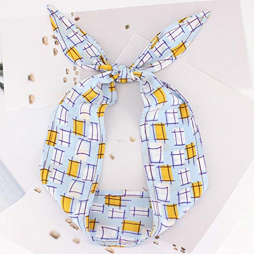 Sweet Ladies Girls Bow Bunny Ear Print Hairband Headband Head Wrap Headwear (Colors - light blue) ()