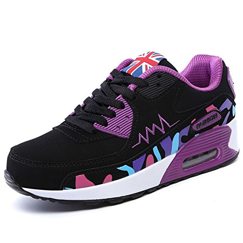 Wealsex Zapatos Para Correr En Montaña Asfalto Aire Libre Deportes Zapatillas De Running Para Mujer Zapatos Casuales Mujer Cuero PU Negro y púrpura