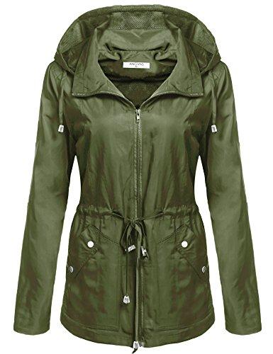 (ANGVNS Women's Waterproof Lightweight Rain Jacket Anorak with Detachable Hood)