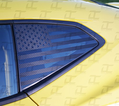 Camaro 6th GEN American Flag Rear Quarter Window Accent Decal Kit (2016-2018) (Carbon Fiber)