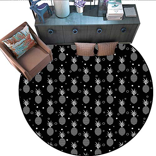 Tropical Round Soft Area Rugs Monochrome Pineapples with Abstract Zigzag Design on a Greyscale Background Perfect for Any Room, Floor Carpet (67