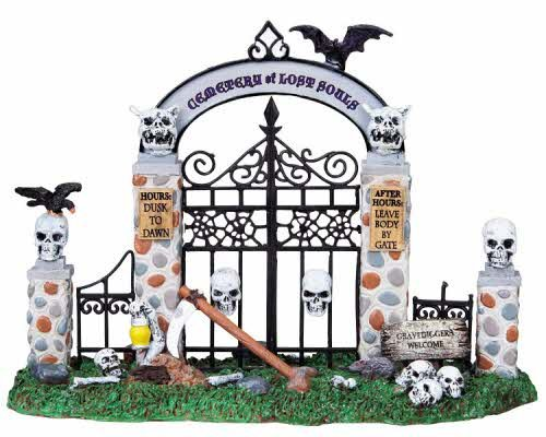 (Lemax 83675 Cemetery Gate Table Accent Halloween Decor Decoration)