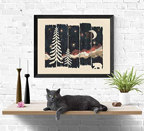Beautiful Outdoor Starry Night Sky Art Print Wilderness Nature Forest Trees Mountain Lover Wall Art Colorful Moon Bear Peaceful Camping Meditation Illustration Home Decor 18 x 24 Unframed Art Print