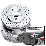 Front PowerSport Cross-Drilled Brake Rotors Disc and Ceramic Pads K3500,Ram 2500