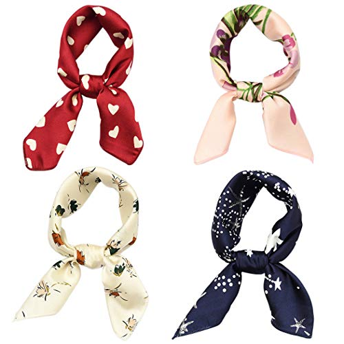 (Hixixi 4 PCS 50s Satin Neck Scarf Dots Floral Striped Small Square Neckerchief Headbands Head Scarf for Women Girl)