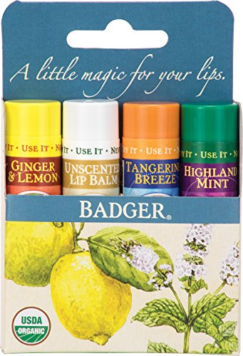 Badger Classic Lip Balm 4-Pack - Blue Box