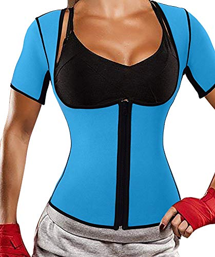 Women's Neoprene Sauna Vest Body Shaper Sweat Suit with Sleeves Spa Cami Hot Slimming Workout Top Weight Loss