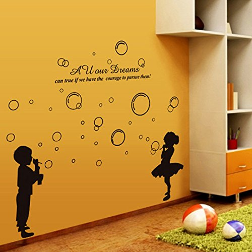 Wall Sticker English Letters Boy and Girl Blowing Bubbles Paper Home Decal Removable Wall Vinyl Living Room Bedroom PVC Art Picture Murals Waterproof DIY Stick for Childres Baby