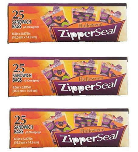 Halloween Zipper Seal Sandwich Bags, 75 Bags Total