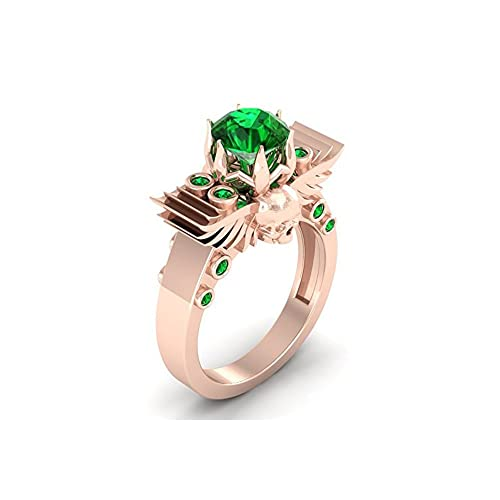 Mejor compromiso anillos de boda en 1,50 CT verde Zirconia cúbico corte redondo cristal