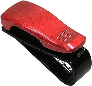2PCS Set Red Car Sunglasses Ticket Credit Card Pen Holder Clip Sun Visor Mount